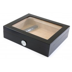 Humidor black matte glass window